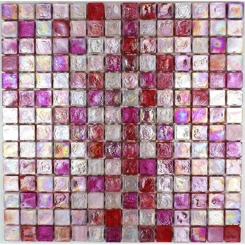 Zenith rose mosaique de verre carrelage mosaique for Carrelage fushia