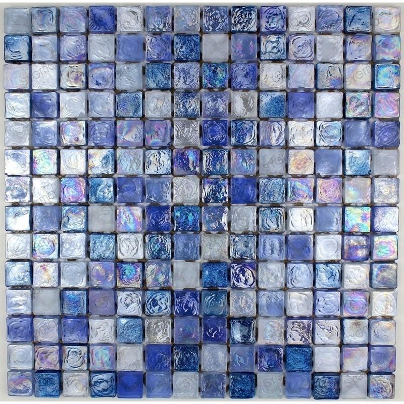 suelo mosaico cristal ducha baño muro cocina Arezo Bleu