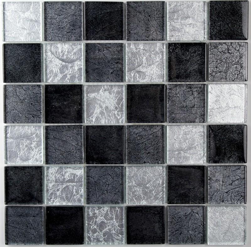 Tile Glass Mosaic Splashback Kitchen 1 Plate Lux Noir