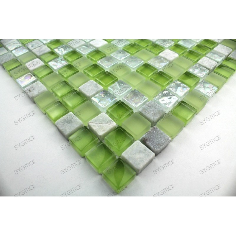 Carrelage mosaique verre et pierre 1 plaque SAMBA
