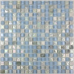 Tile mosaic glass and stone Italian shower 1 plate LAGOON