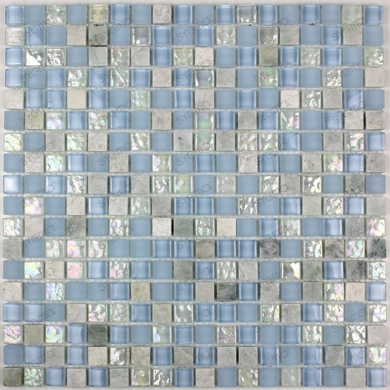 Carrelage mosaique verre et pierre douche italienne 1 plaque Acana