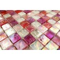 Mosaique carrelage verre 1 plaque Arezo Rose