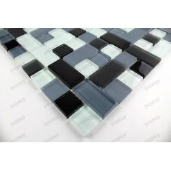 carrelage mosaique verre faience 1 plaque CUBIC NOIR