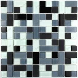 suelo mosaico cristal ducha baño frente cocina cubic noir