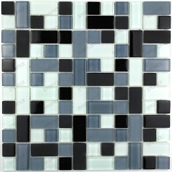 Tile mosaic glass earthenware bathroom CUBIC black