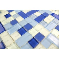 carrelage mosaique verre faience 1 plaque CUBIC BLEU