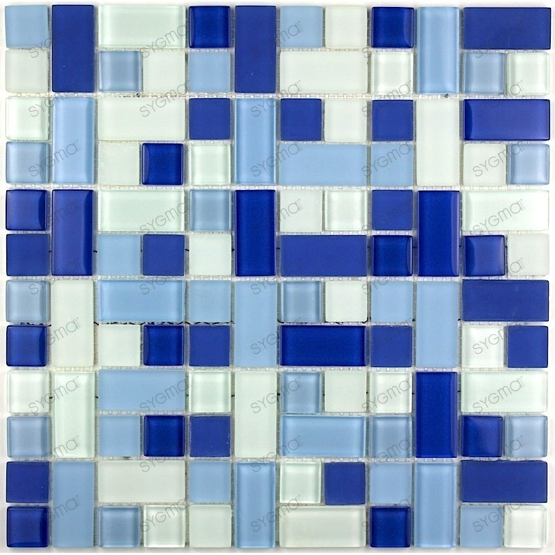 Carrelage mosaique verre faience 1 plaque cubic bleu for Carrelage bleu gris