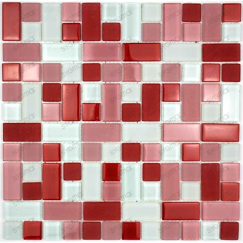 cubic rouge mosaique de verre carrelage mosaique. Black Bedroom Furniture Sets. Home Design Ideas