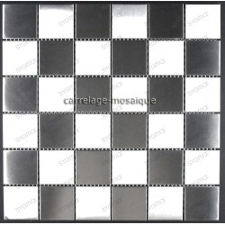 mosaico acero inoxidable cocina ducha cm-damier48
