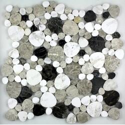 Tile stone pebbles flat mosaic marble mp-luna-noir
