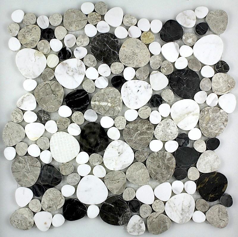 Carrelage pierre galets plats mosaique marbre LUNA NOIR