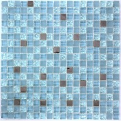 mosaic tiles glass and stainless steel, shower bath HARRIS blue