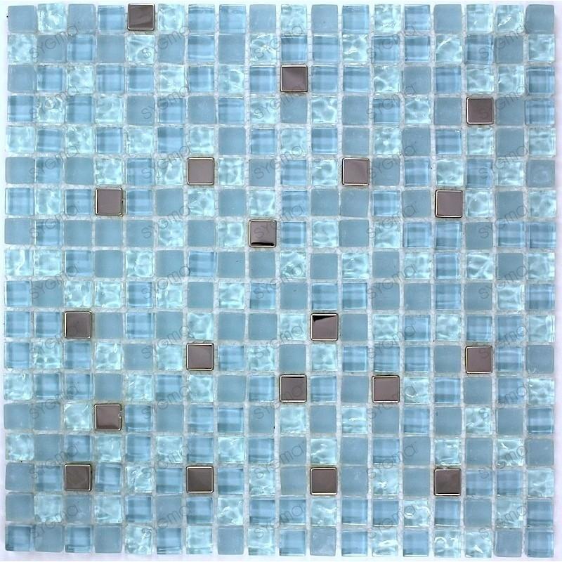 Mosaique carrelage verre 1 plaque BLEU MIROIR