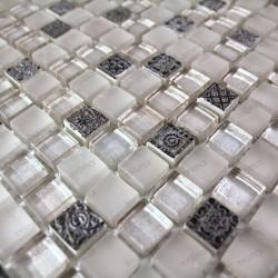 mosaique verre et pierre carrelage 1 plaque HELIOS