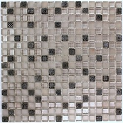 Mosaic glass and stone tile 1 plate HELIOS