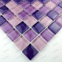 Mosaique carrelage verre 1 plaque LILA MIX