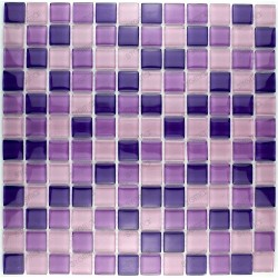 Mosaique carrelage verre 1 plaque LILA MIX