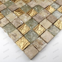 Tile mosaic glass and stone CALVI GOLD