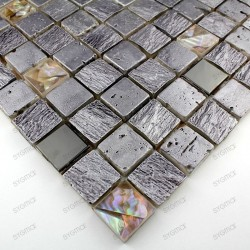 Carrelage mosaique verre et pierre CALVI SILVER