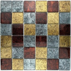 Mosaic glass tile kitchen backsplash LUX GOLD