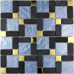 Tile mosaic glass stone and metal MIRAGE