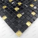 mosaique carrelage verre et pierre NERO GOLD