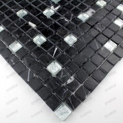 Mosaic glass and stone tile NERO SILVER