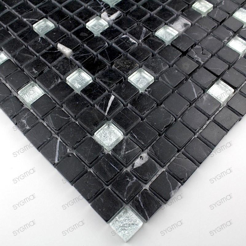 mosaique verre et pierre carrelage NERO SILVER