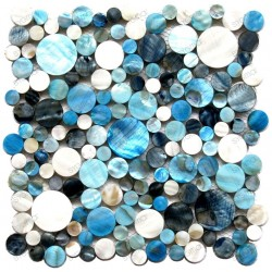 REDONDO blue mother-of-Pearl tile mosaic