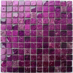 Tile mosaic glass and stone 1 plate METALLIC purple