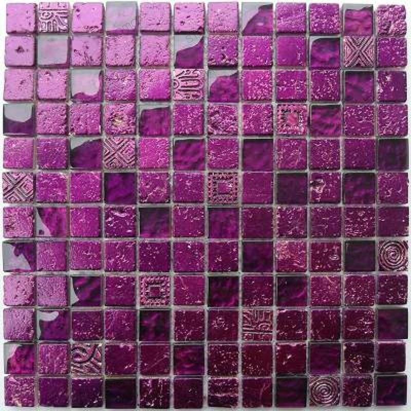 Tile mosaic glass and stone 1 sheet Alliage Violet