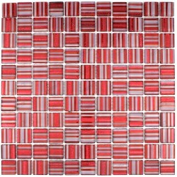 Mosaic glass tile kitchen splashback model candy rouge