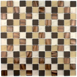 Tile glass mosaic shower bath model qualy-marron