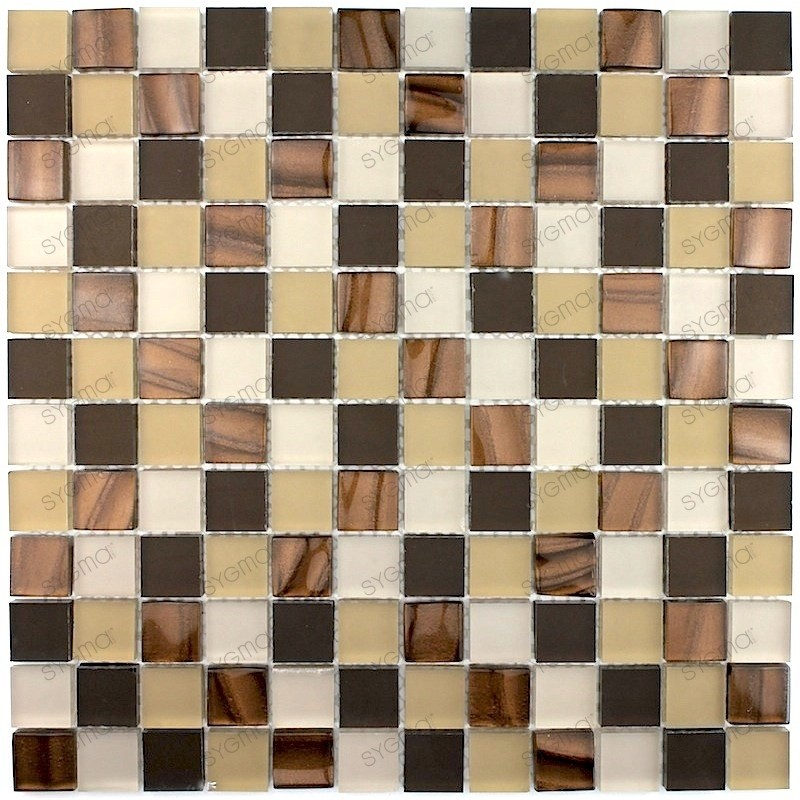 carrelage verre mosaique QUALY MARRON