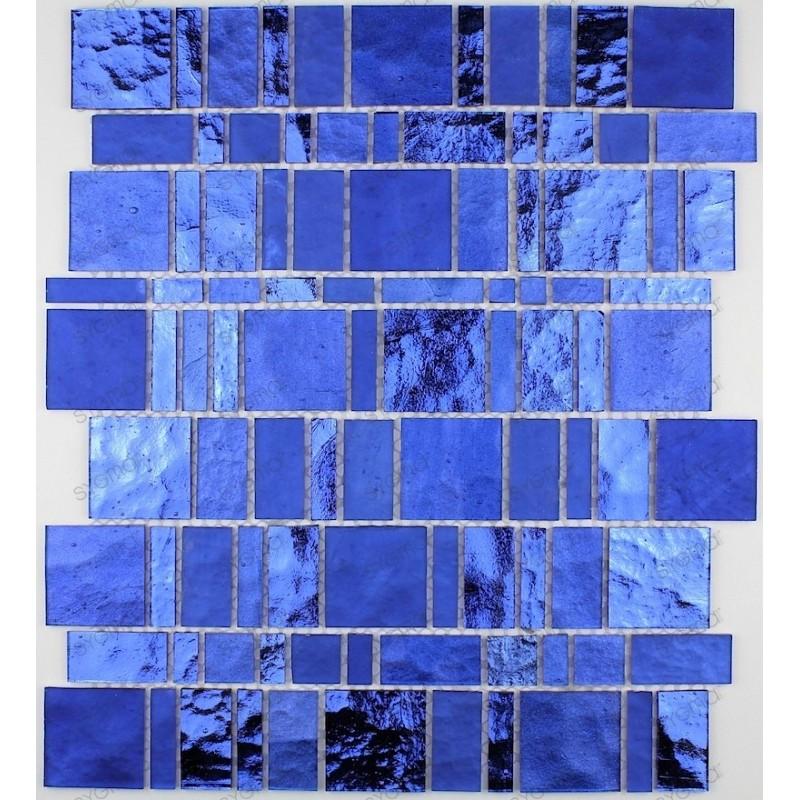 carrelage verre mosaique modele PULP BLEU