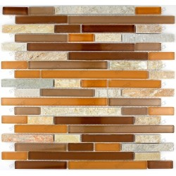 Tile mosaic glass and stone KINO CAMEL