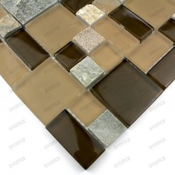 Tile mosaic glass and stone THEMA Brown