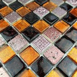 mosaique pierre et verre METALLIC CAFE