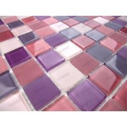 Mosaique carrelage verre 1 plaque MAUVE MIX