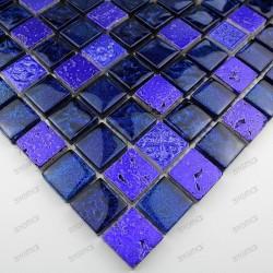 mosaico de piedra y vidrio metallic-bleu