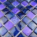 carrelage pierre et verre mosaique METALLIC BLEU
