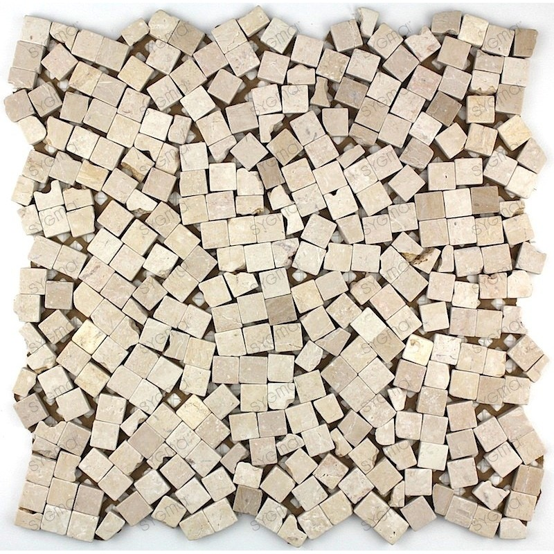 Mosaic tile stone 1 plate lulli beige carrelage mosaique for Carrelage mosaique