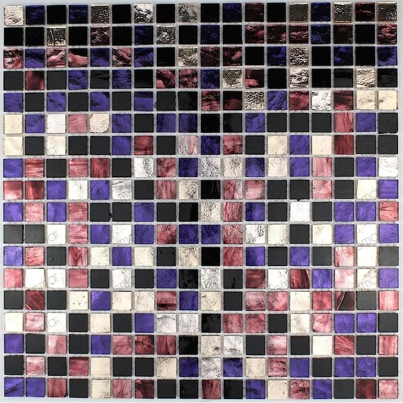 Malla mosaico muro ducha vidrio cocina y baño Strass Prune