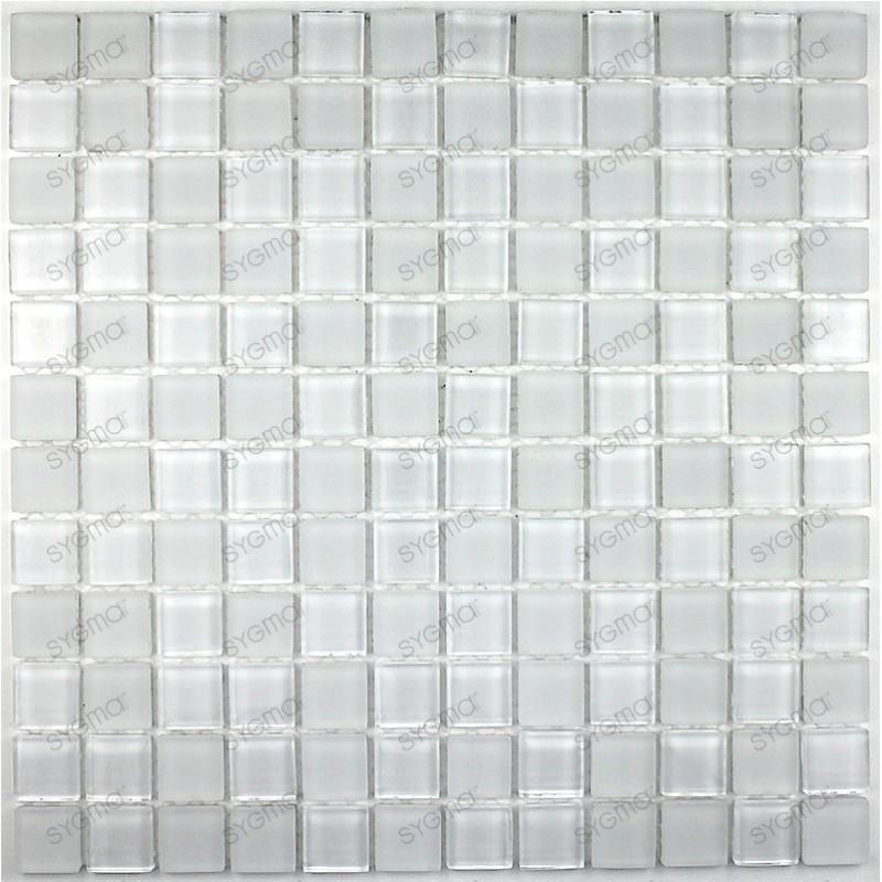 mat blanc 23 mosaique de verre carrelage mosaique. Black Bedroom Furniture Sets. Home Design Ideas