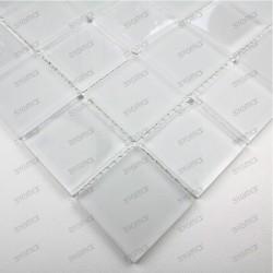 Mosaique carrelage verre 1 plaque MAT BLANC 48
