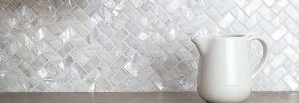 Mosaique de nacre blanc KATA