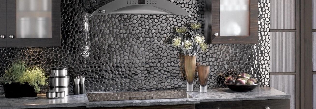 Mosaique galets en acier inoxydable effet miroir